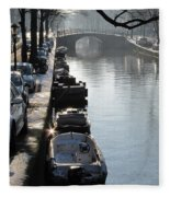 Amsterdam Canal In Winter Fleece Blanket