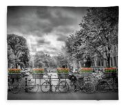 Amsterdam Gentlemens Canal Typical Cityscape Fleece Blanket