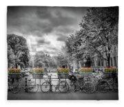 Amsterdam Gentlemens Canal Typical Cityscape Fleece Blanket