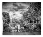 Amsterdam In Monochrome  Fleece Blanket