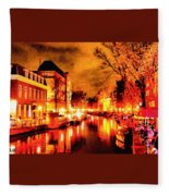 Amsterdam Night Life L A S Fleece Blanket