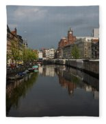 Amsterdam - Singel Canal With The Floating Flower Market Fleece Blanket