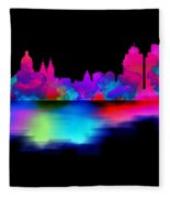 Amsterdam Skyline - Pink Blue Fleece Blanket