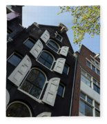 Amsterdam Spring - Arched Windows And Shutters - Right Fleece Blanket