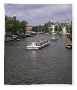 Amsterdam Water Scene Fleece Blanket