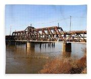 Amtrak California Crossing The Old Sacramento Southern Pacific Train Bridge . 7d11674 Fleece Blanket