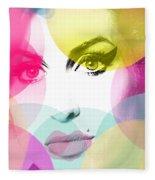 Amy Portrait Pink Yellow  Fleece Blanket