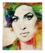 Amy Winehouse Colorful Portrait Fleece Blanket