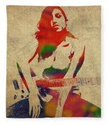 Amy Winehouse Watercolor Portrait Fleece Blanket