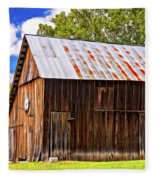 An American Barn 2 Painted Fleece Blanket