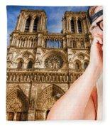 An American In Paris Notre Dame Fleece Blanket