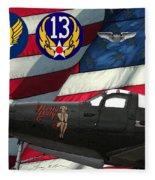 An American P-63 Pof Fleece Blanket