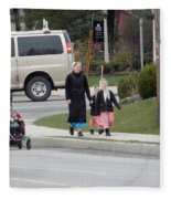 An Amish Family Going For A Walk Fleece Blanket