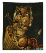 An Anthropomorphic Still Life With Pots Pans Cutlery A Loom And Tools Fleece Blanket