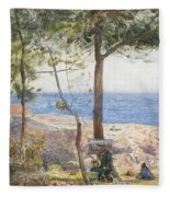 An Artist Painting By The Sea Fleece Blanket