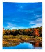 An Autumn Day At The Green Bridge Fleece Blanket