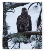 An Eagle Gazing Through Snowfall Fleece Blanket