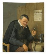 An Elderly Man Seated Holding A Wineglass Fleece Blanket