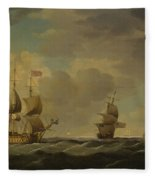 An English Flagship Under Easy Sail In A Moderate Breeze Fleece Blanket
