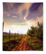 An Evening By The Orchard Fleece Blanket