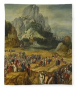 An Extensive Landscape With The Preaching Of Saint John The Baptist And The Baptism Of Christ Fleece Blanket