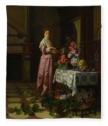 An Interior With Fruit And Flowers Fleece Blanket