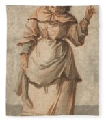 An Old Market Woman Grinning And Gesturing With Her Left Hand Fleece Blanket