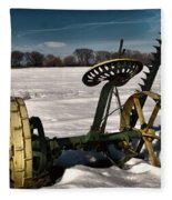 An Old Mower In The Snow Fleece Blanket