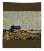An Old Scottish Cottage Overlooking A Loch  L A S Fleece Blanket