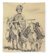 An Old Time Mountain Man With His Ponies Fleece Blanket