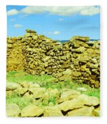 An Old Wall At The Pecos Ruins Fleece Blanket