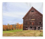 An Old Wooden Barn In Vermont. Fleece Blanket