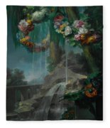 An Outdoor Scene With A Spring Flowing Into A Pool Fleece Blanket