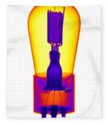 An X-ray Of Historic Audion Vacuum Tube Fleece Blanket