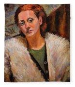Ana In A Fur Coat Fleece Blanket