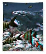 Anaglyph Whales Fleece Blanket