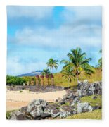 Anakena At Easter Island Fleece Blanket