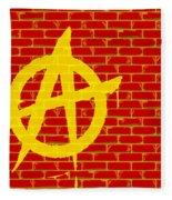 Anarchy Graffiti Red Brick Wall Fleece Blanket