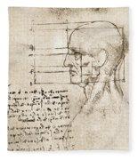 Anatomical Drawing By Leonardo Da Vinci Fleece Blanket