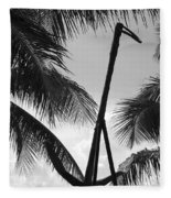 Anchor In Black And White Fleece Blanket
