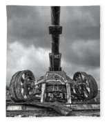 Ancient Cannon In Black And White Fleece Blanket