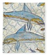 Ancient Greek Dolphins Fleece Blanket