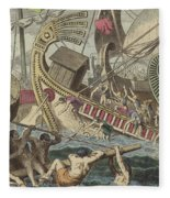 Ancient Greek Sea Battle Fleece Blanket
