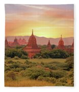 Ancient Pagodas In The Countryside From Bagan In Myanmar At Suns Fleece Blanket