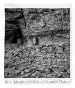 Ancient Ruins Mystery Valley Colorado Plateau Arizona 02 Bw Text Fleece Blanket