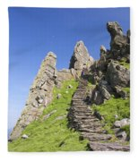 Ancient Steps Leading To Celtic Monastery, Skellig Michael, County Kerry, Ireland Fleece Blanket