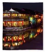 Ancient Style Restaurant On Water By Stone Bridge Fleece Blanket