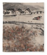 Ancient Town River Paintingancient Town River Painting Fleece Blanket