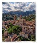 Ancient Village Of Sarnano Italy, Marche, Macerata - Aerial View Fleece Blanket