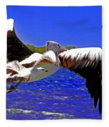 And The Seagull Follows Pelican Fleece Blanket